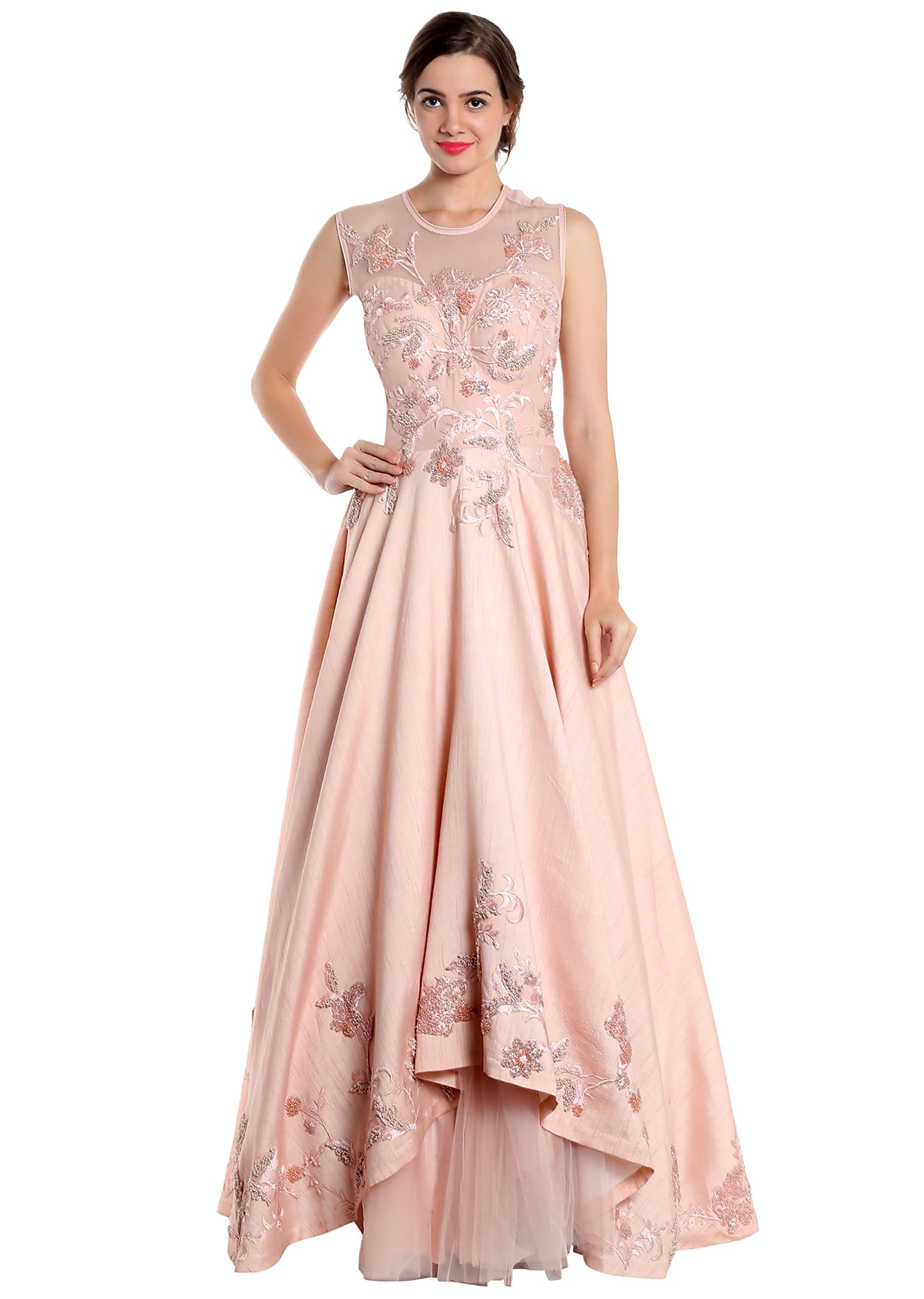 8a3bb9bbd4 Blush pink gown adorned with pearl only on KalkiMore Detail