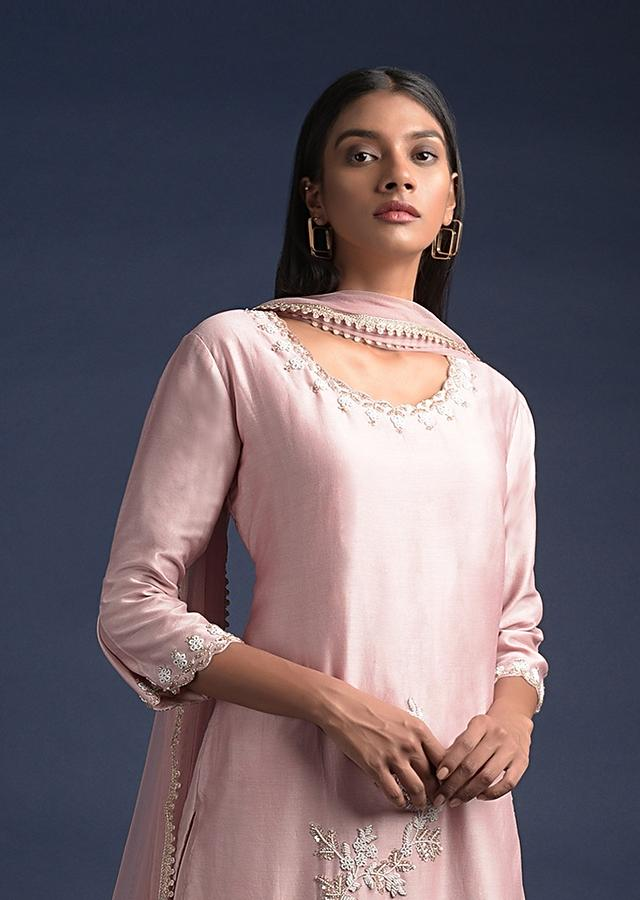 Blush Pink Lehenga And Long Kurti With Pearls Embroidered Floral Motifs Online - Kalki Fashion