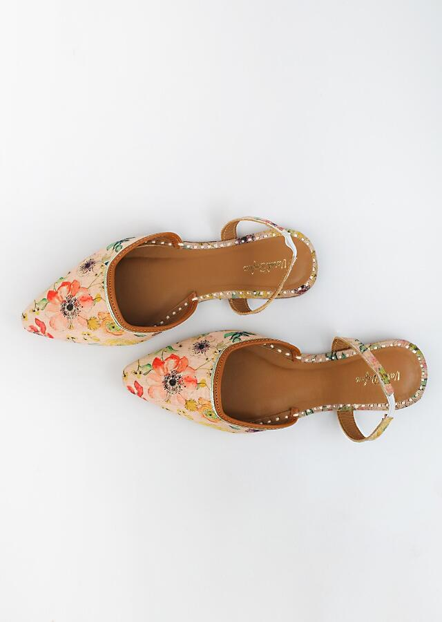 Blush Pink Mules With Back Strap Featuring Floral Print That Is Highlighted Using French Knot, Zari And Sequins Embroidery By Vareli Bafna