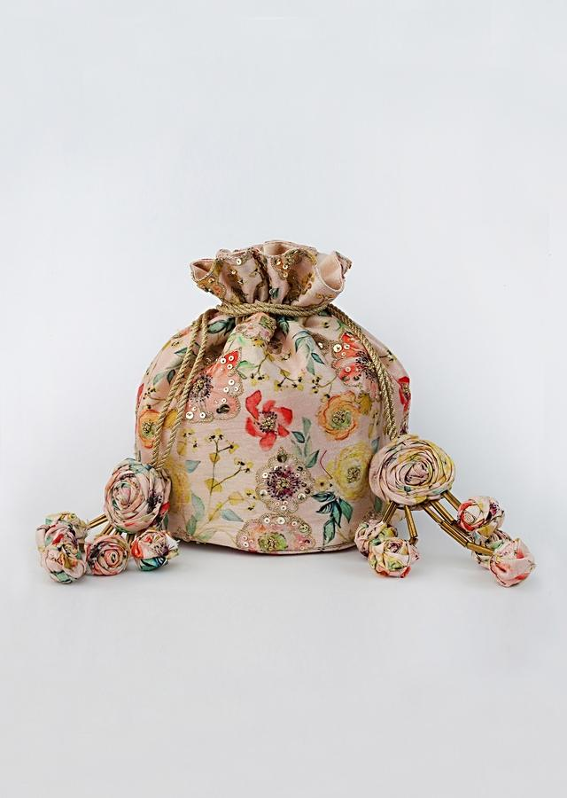 Blush Pink Potli Bag With Floral Print And Highlighted With French Knots, Sequins And Zari By Vareli Bafna