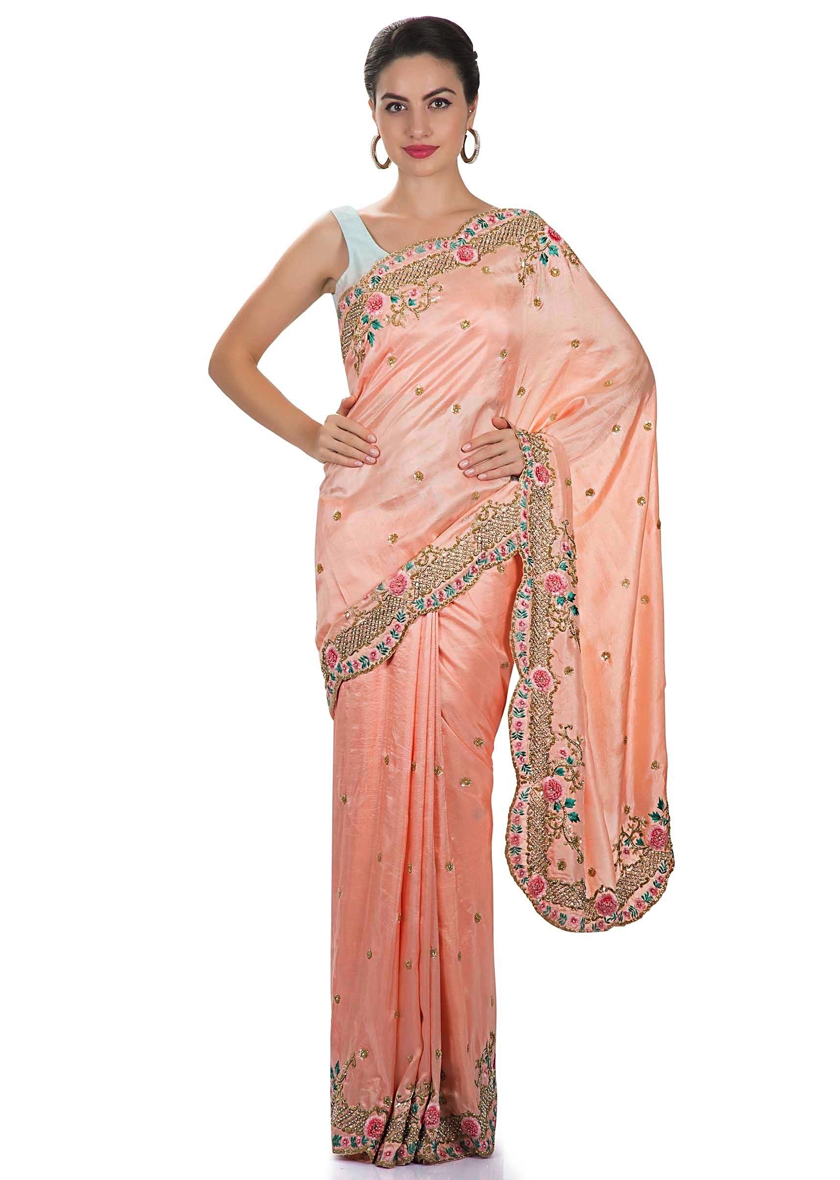 4b3e0a5a823e8 Blush pink satin chiffon saree with resham and zardosi flower pattern only  on KalkiMore Detail
