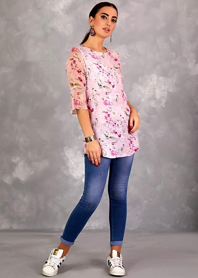 Blush Pink Tunic In Cotton With Floral Print And Bell Sleeves