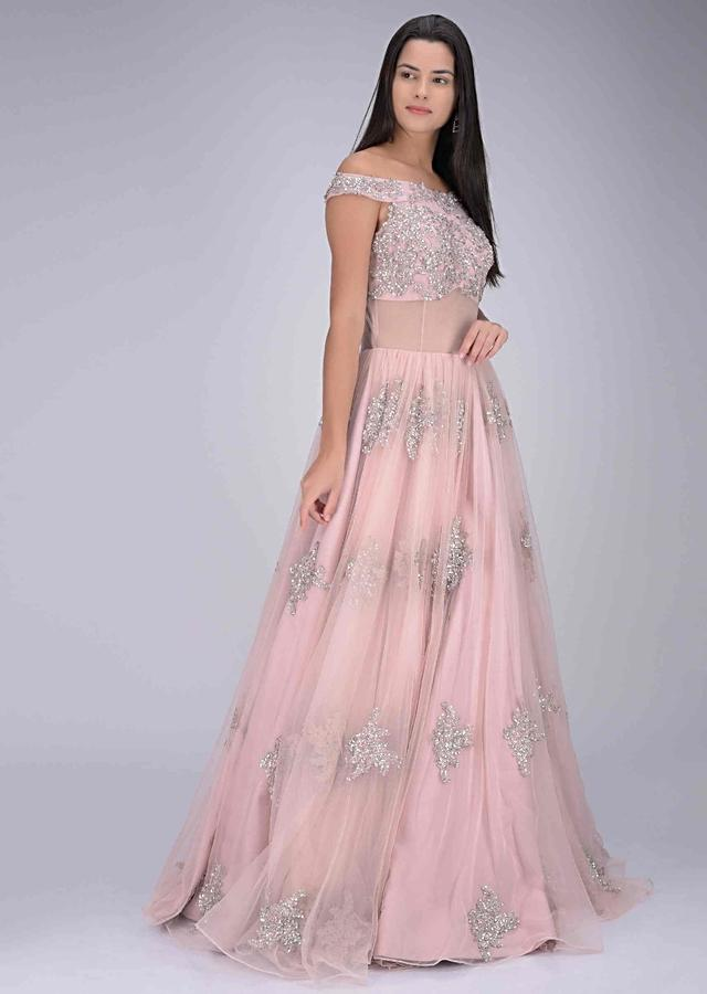 Blush pink embroidered net gown only on Kalki