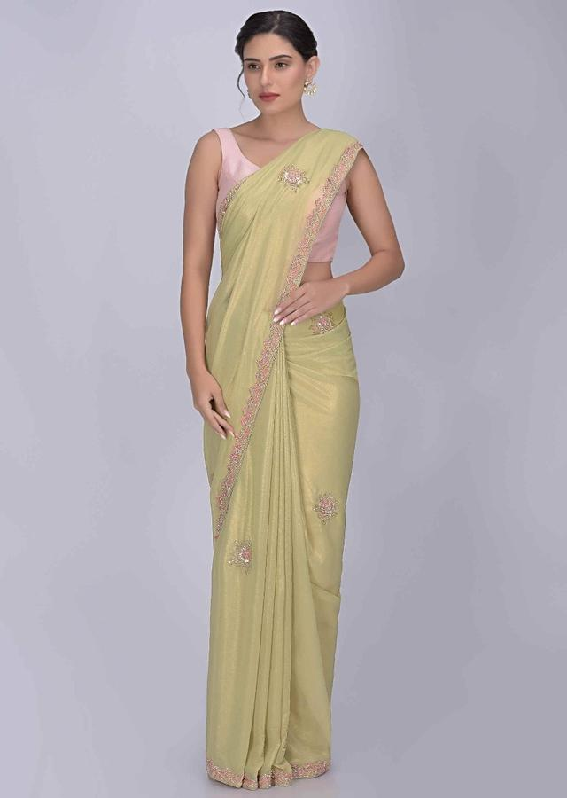 Bok Choy Green Saree In Shimmer Georgette With Matching Blouse Piece Online - Kalki Fashion