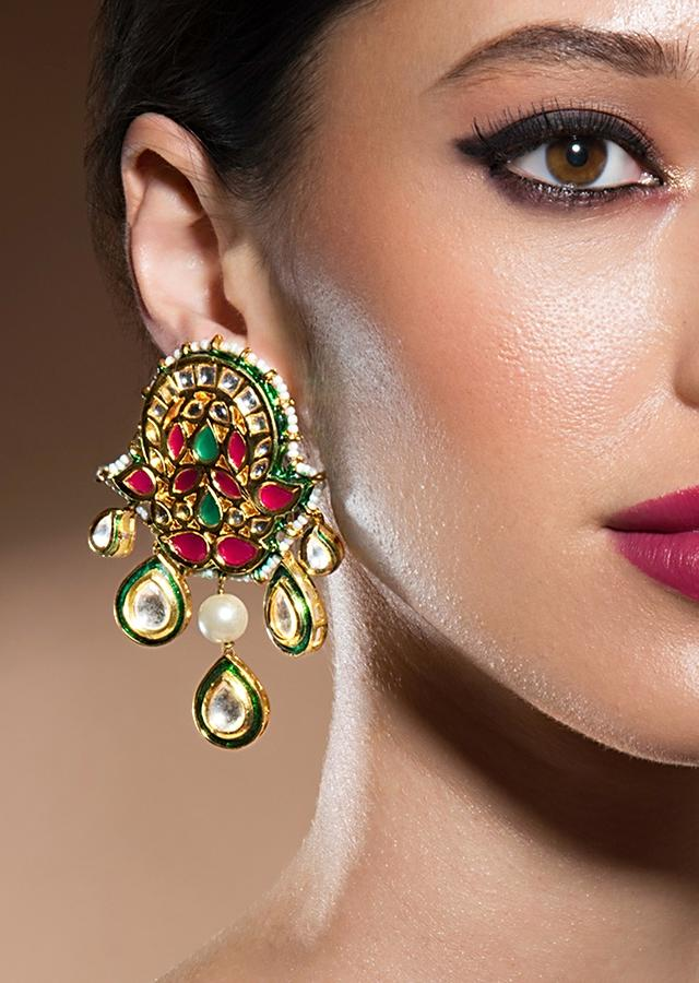 Bold Kundan Earrings With Gold Enamelling And Shell Pearls Online - Joules By Radhika