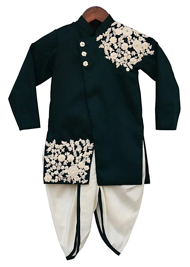 Bottle Green Ajkan And Dhoti Bottoms With Floral Embroidery By Fayon Kids