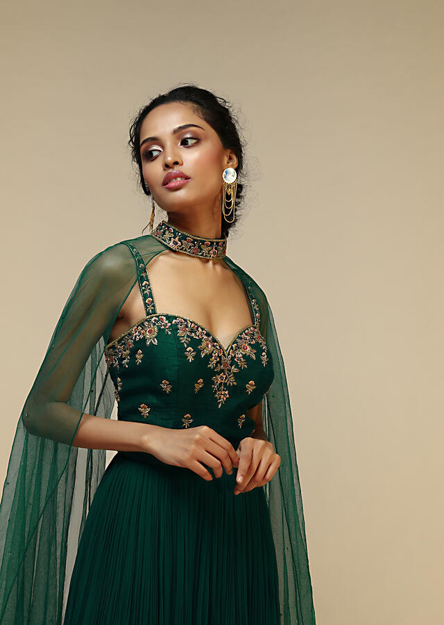 Bottle Green Anarkali Gown With Hand Embroidered Floral Design Using Multi Colored Sequins And Cut Dana Work Online - Kalki Fashion