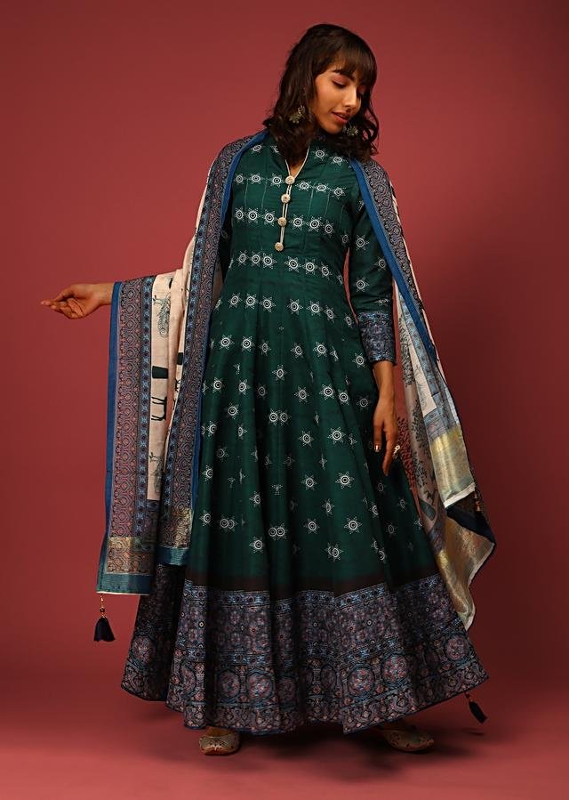 Bottle Green Anarkali Suit In Silk With Bandhani Buttis And Contrasting Black And Blue Border With Ethnic Print Online - Kalki Fashion