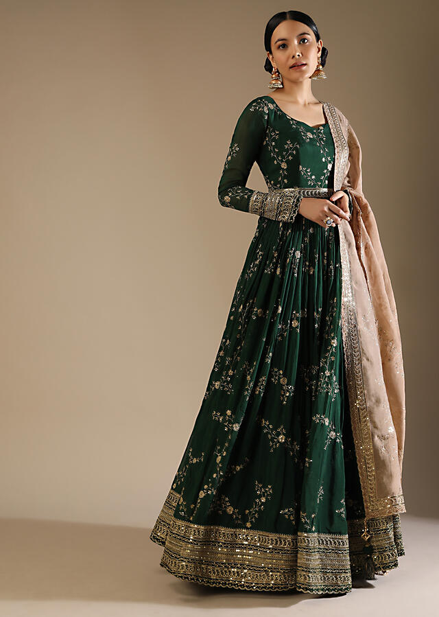 Bottle Green Anarkali Suit In Silk With Zari And Sequins Embroidered Floral Jaal And A Beige Organza Dupatta Online - Kalki Fashion