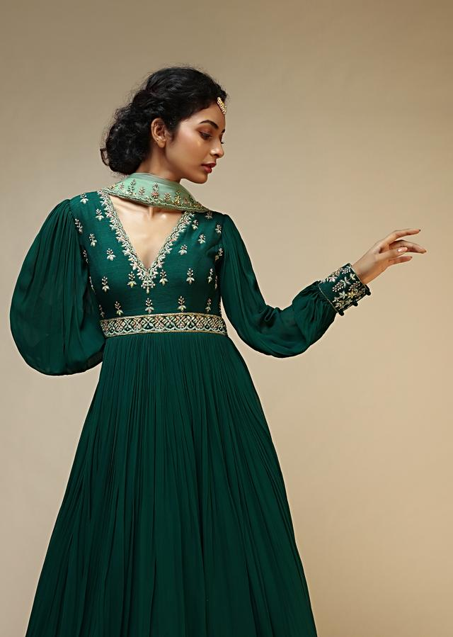 Bottle Green Anarkali Suit With Balloon Sleeves And Hand Embroidered Buttis Using Multi Colored Sequins And Beads Online - Kalki Fashion