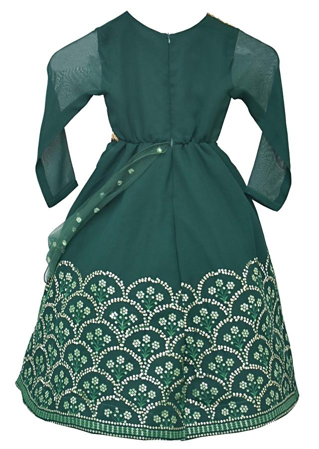 Bottle Green Anarkali Suit With Sequins Embroidery In Scallop Pattern By Fayon Kids