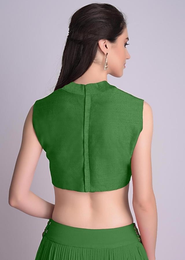 Bottle green Blouse In Raw Silk With V Neckline Online - Kalki Fashion