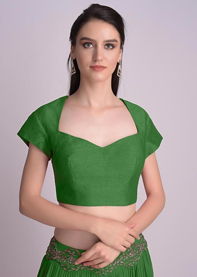 Bottle Green Blouse With Deep Sweet Heart Neck And Cap Sleeves Online - Kalki Fashion