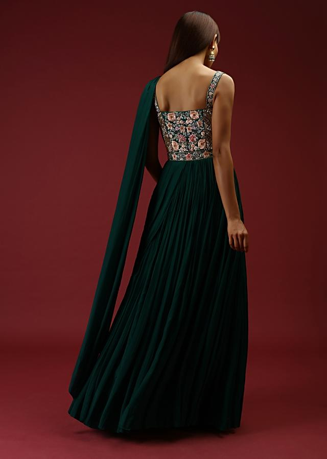 Bottle Green Corset Gown With A Colorful Resham Embroidered Bodice And A Gathered Drape On One Shoulder Online - Kalki Fashion