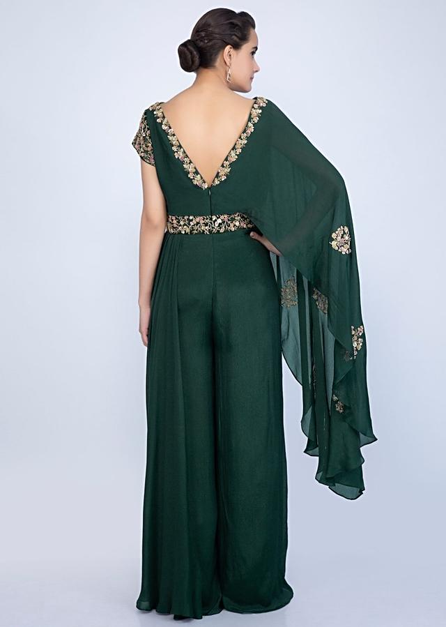 Bottle Green Jumpsuit With Additional Flared Layer On One Shoulder And Embroidery Work Online - Kalki Fashion