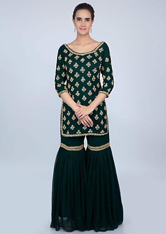 Bottle Green Georgette Sharara Suit With Embroidered Butti Only On Kalki Online - Kalki Fashion