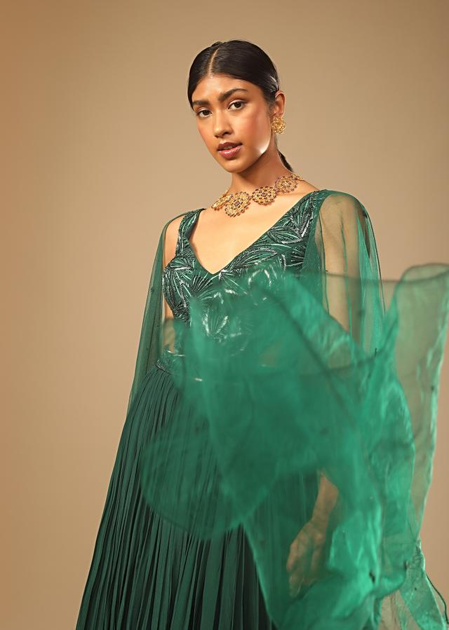 Bottle Green Gown In Crepe With Side Cut Outs In The Hand Embroidered Bodice Online - Kalki Fashion