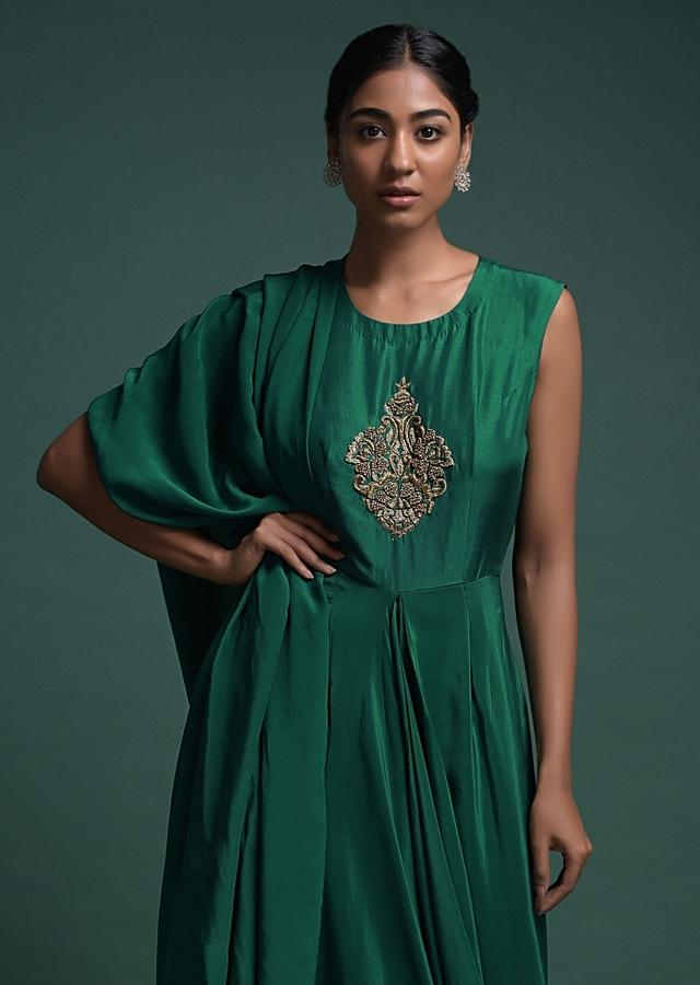Bottle Green Indowestern Gown With Attached Drape And Zardozi Embroidered Bodice Online - Kalki Fashion