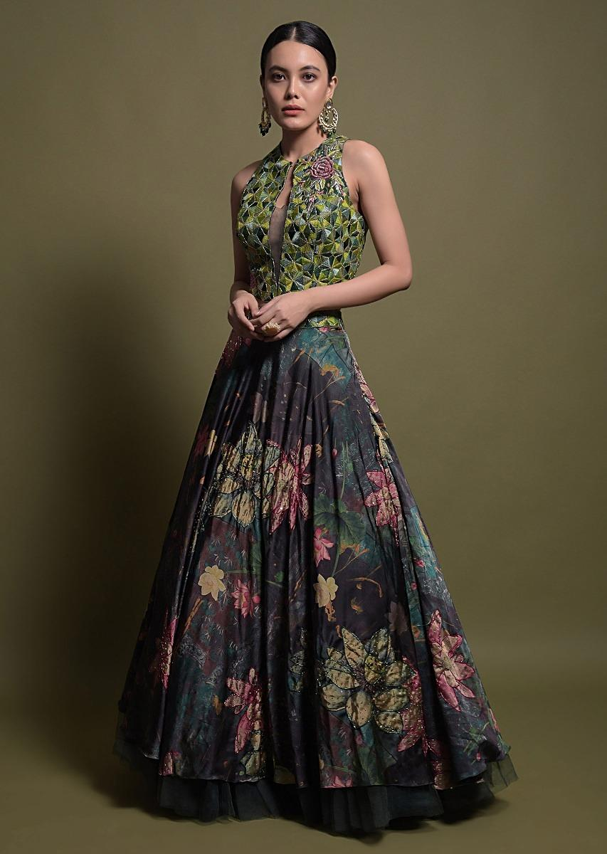Bottle Green Lehenga In Satin With Multi Color Floral Print