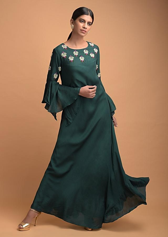 Bottle Green Long A Line Dress In Cotton With Bell Sleeves Online - Kalki Fashion