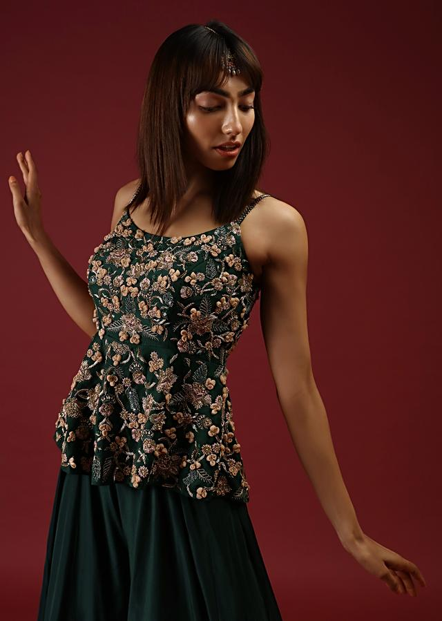 Bottle Green Palazzo Pants With A Heavy Hand Embroidered Peplum Top Adorned In Multicolored Beads And 3D Flowers Online - Kalki Fashion