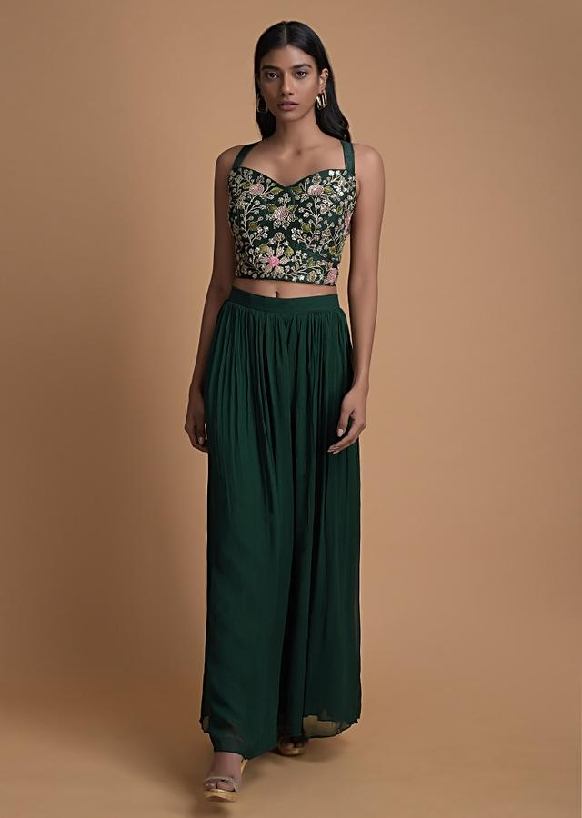 Bottle Green Palazzo Suit With Matching Jacket And Embroidered Floral Jaal Online - Kalki Fashion