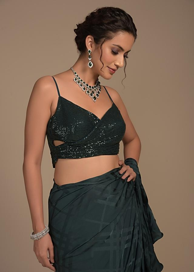 Bottle Green Ready Pleated Ruffle Saree With Self Checks And Sequins Wrap-Around Style Blouse Online - Kalki Fashion