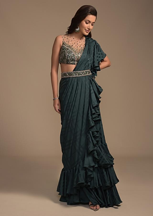 Bottle Green Ready Pleated Ruffle Saree With Self Checks Design And Heavy Embellished Blouse Online - Kalki Fashion