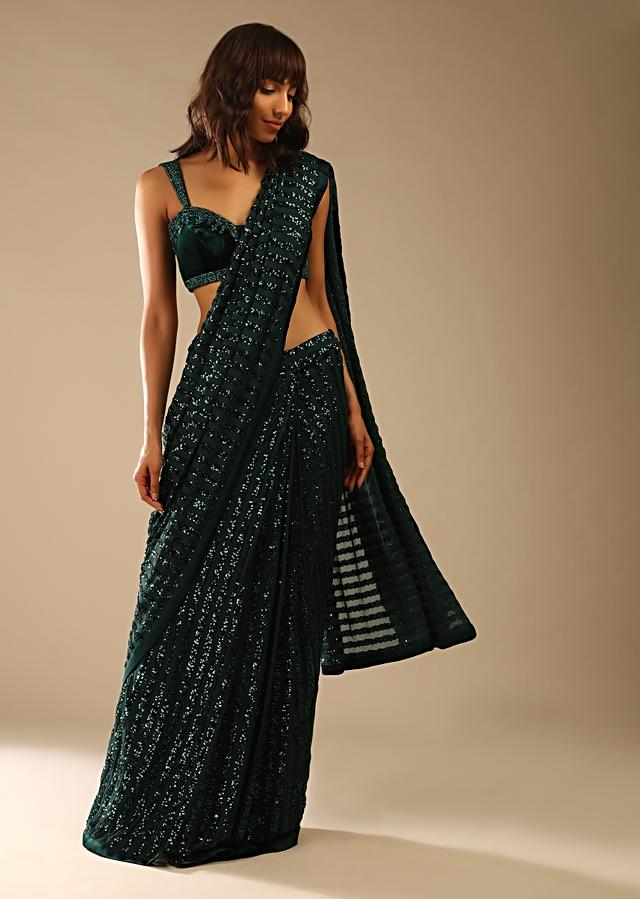 Bottle Green Ready Pleated Saree In Striped Sequins With Cut Dana Embellished Velvet Blouse Online - Kalki Fashion