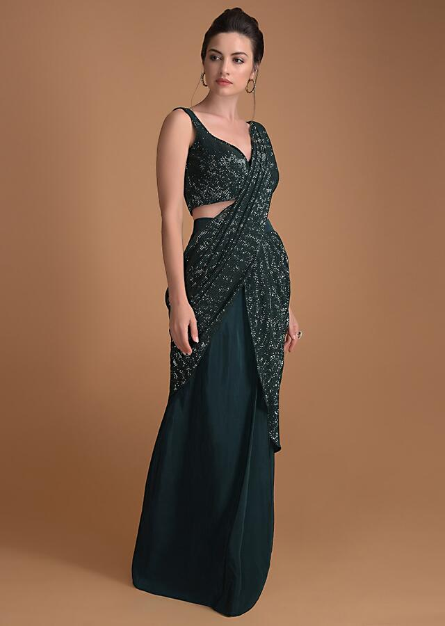 Bottle Green Ready Stitched Saree With A Crushed Sequins Pallu Online - Kalki Fashion