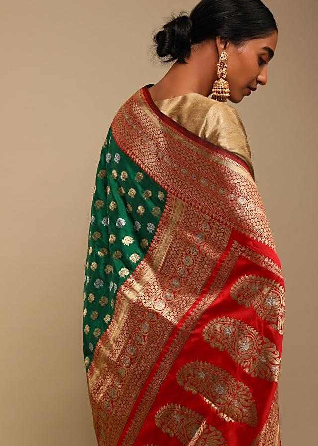 Bottle Green Saree In Pure Handloom Silk With Red Woven Border And Two Toned Buttis Along With Unstitched Blouse Online - Kalki Fashion
