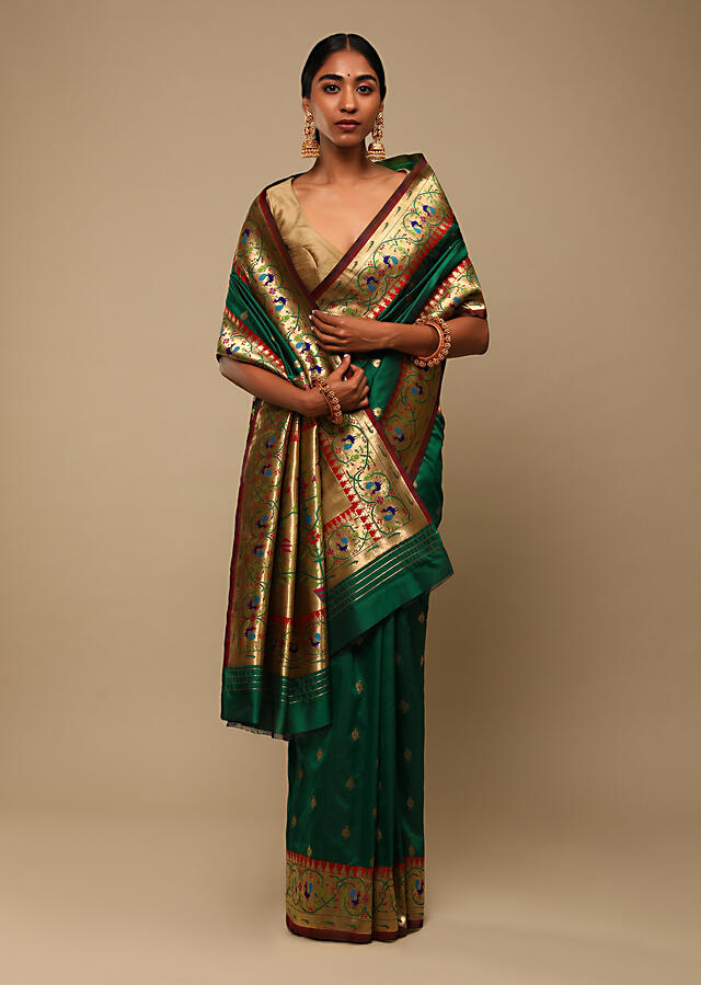 Bottle Green Saree In Pure Handloom Silk With Woven Geometric Buttis, Peacock Motifs On The Border And Unstitched Blouse Online - Kalki Fashion