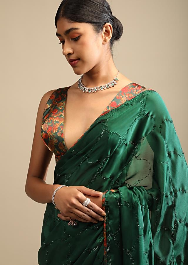 Bottle Green Saree In Satin With Self Colored Kundan Work In Moroccan Design And Floral Printed Unstitched Blouse Online - Kalki Fashion