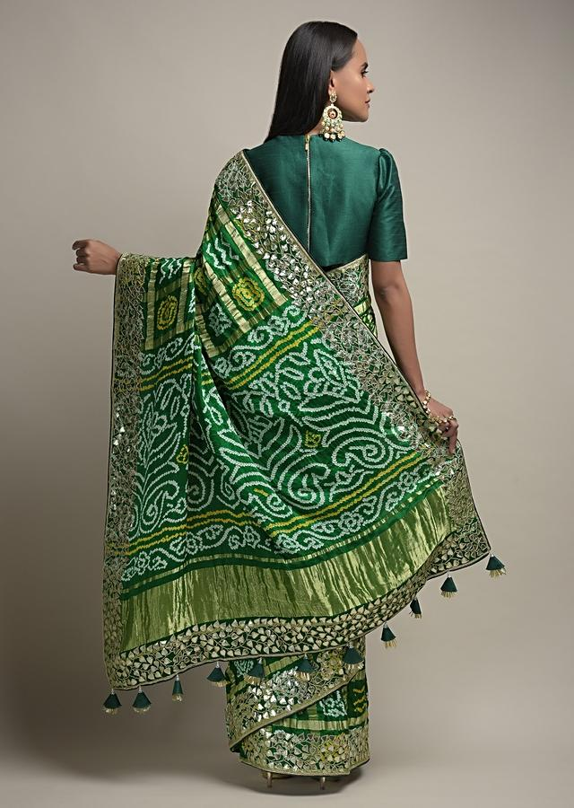 Bottle Green Saree With Bandhani And Gotta Work Along With Unstitched Blouse Online - Kalki Fashion