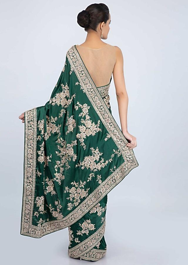 Bottle Green Saree In Satin With Floral Butti And Embroidered Border Online - Kalki Fashion