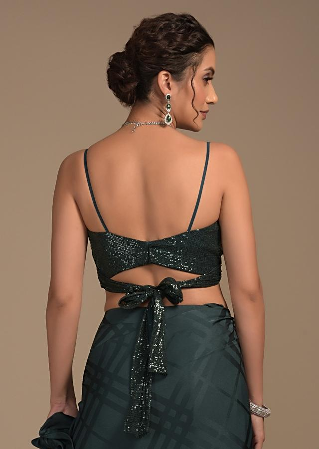 Bottle Green Sequins Blouse With Wrap Around Design And Side Cut Outs Online - Kalki Fashion