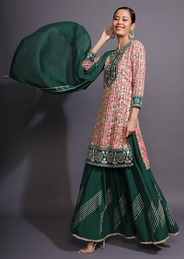 Bottle Green Skirt Suit With Pink Floral Printed Kurti And Gotta Pati Work Online - Kalki Fashion