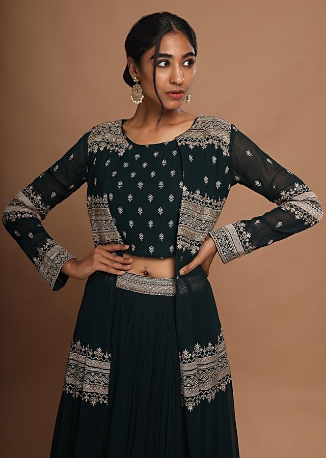 Bottle Green Skirt And Crop Top With A Long Jacket Embellished With Resham And Cut Dana Work Online - Kalki Fashion