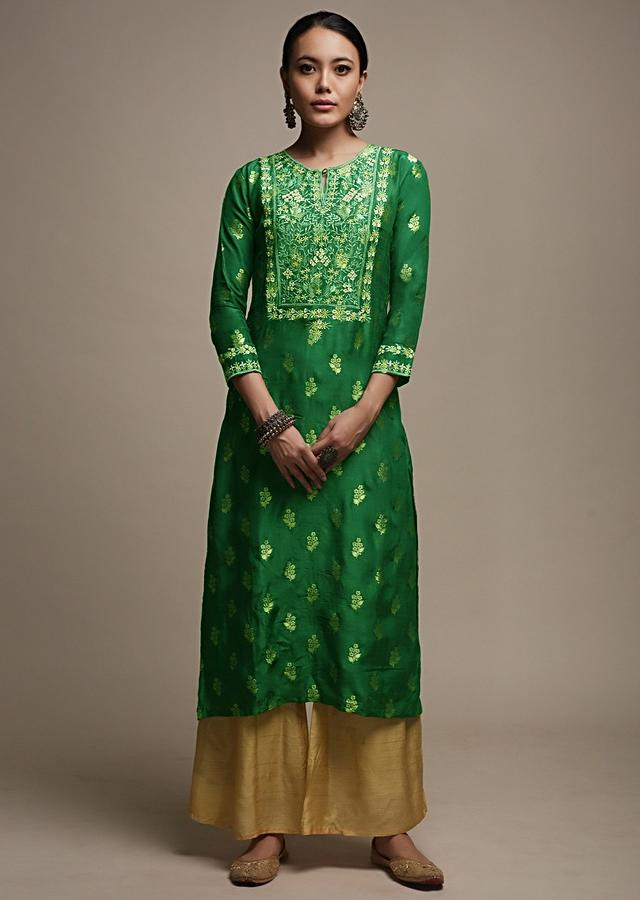 Bottle Green Straight Cut Kurti In Brocade Silk With Woven Floral Buttis And Colorful Resham Embroidered Yoke Online - Kalki Fashion