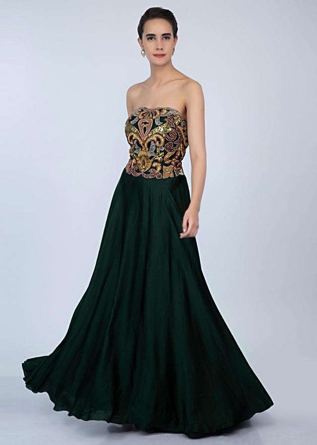 Bottle Green Strapless Gown In Satin With Embroidered Net Bodice Online - Kalki Fashion