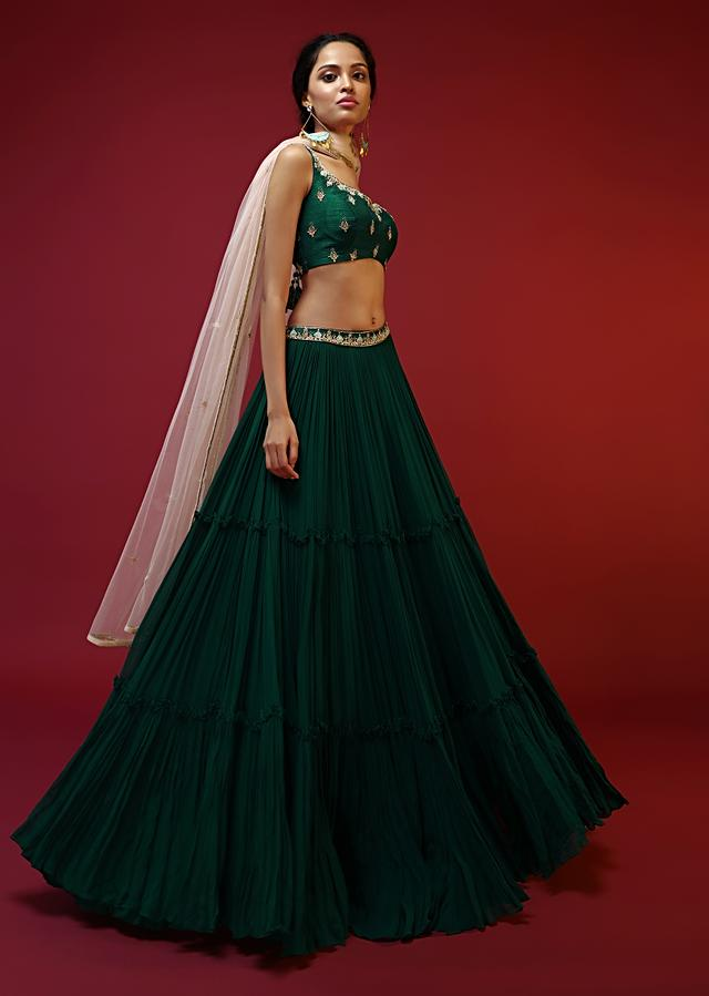 Bottle Green Tiered Lehenga Choli With Hand Embroidered Buttis Using Colorful Beads And Sequins Online - Kalki Fashion