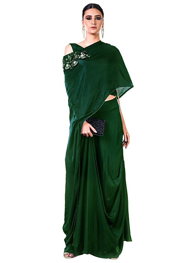 Bottle Green Draped Gown With A Hand Embroidered Cape Dupatta Online - Kalki Fashion