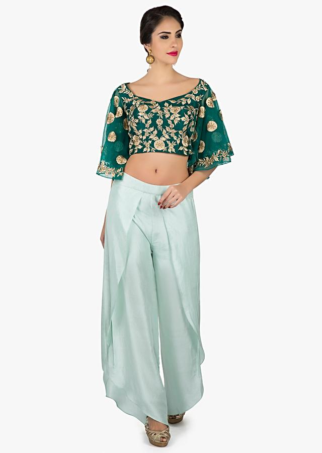 Bottle Green Crop Top With Embroidery Work And Matched With Tulip Pants Online - Kalki Fashion