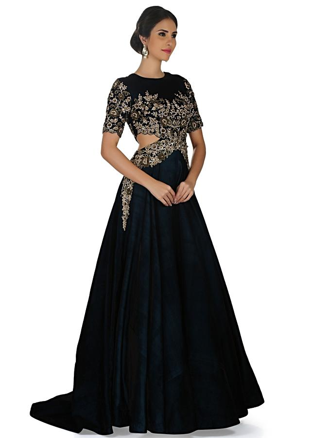 Bottle Green Indo Western Gown With Embroidered Side Cuts At Waist Online - Kalki Fashion