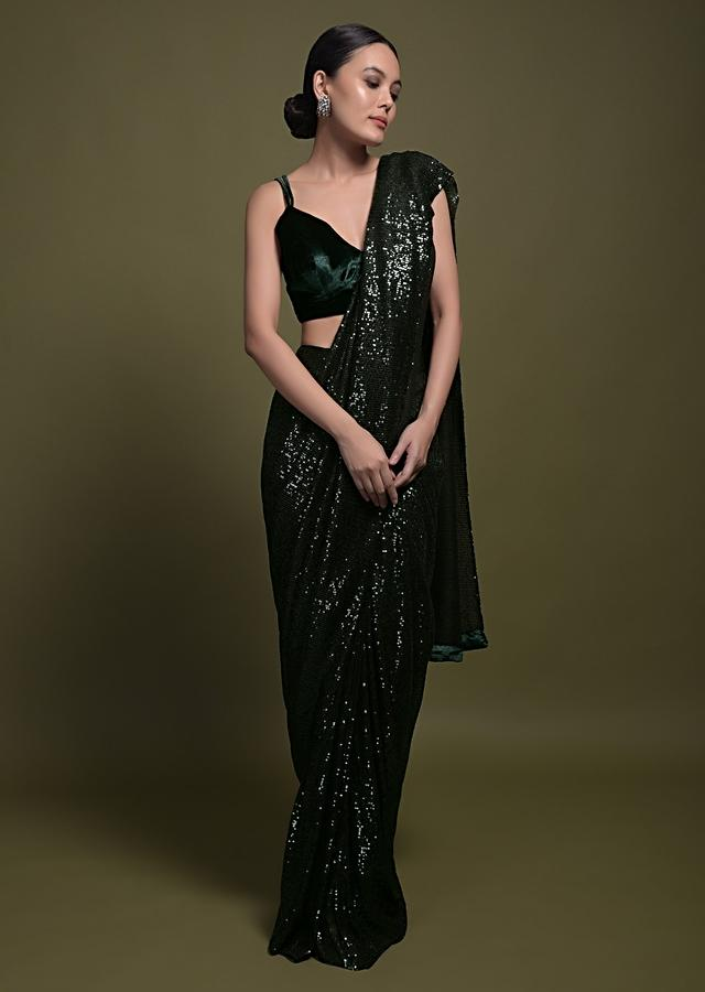 Bottle Green Ready Pleated Saree With Sequins All Over And Velvet Crop Top Online - Kalki Fashion