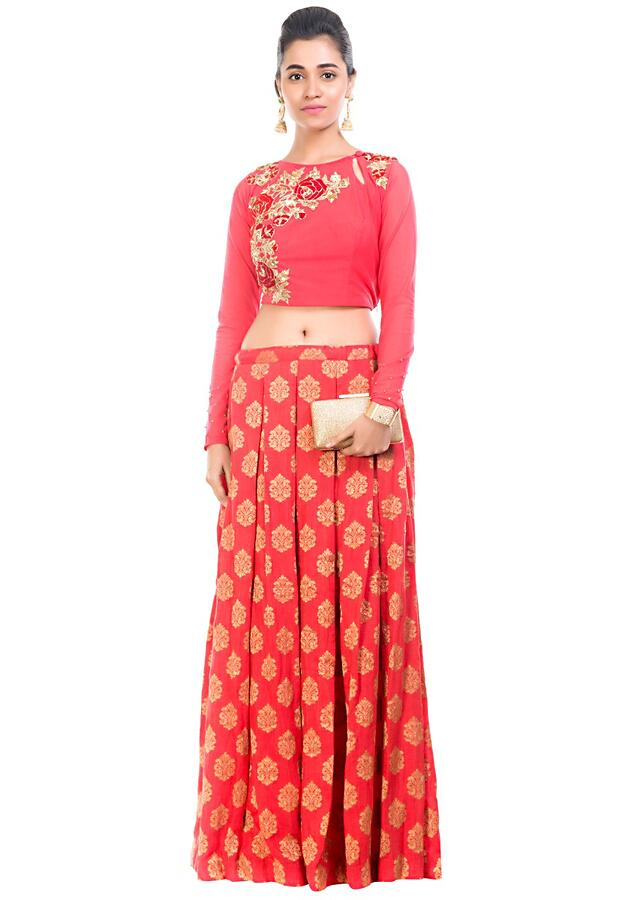 Box Pleated Brocade Skirt With Crop Top Online - Kalki Fashion