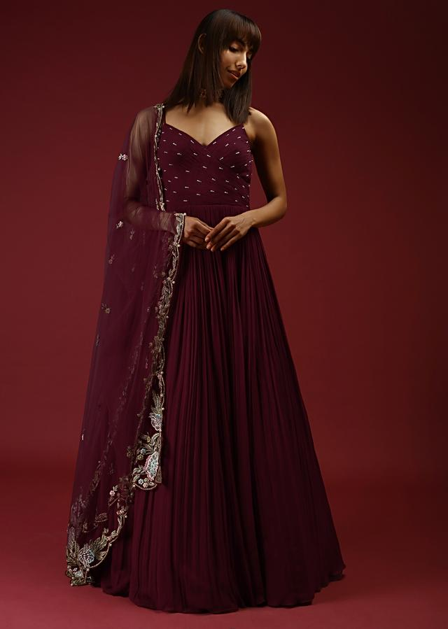 Brick Maroon Anarkali Gown With Ruching And Pearls On The Bodice And An Intricately Embroidered Dupatta Online - Kalki Fashion