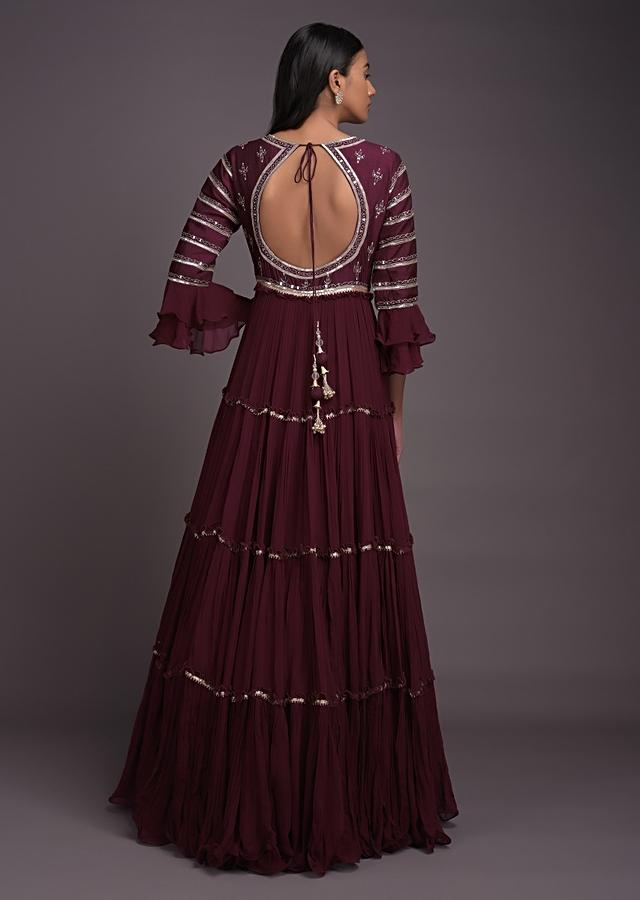 Brick Maroon Anarkali Suit With Tiered Silhouette And Abla Embroidery Online - Kalki Fashion