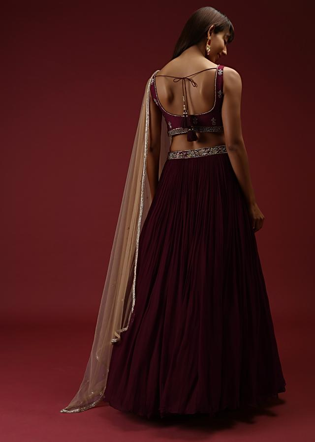 Brick Maroon Lehenga Choli With Multi Colored Hand Embroidered Buttis Using Multi Colored Sequins And Beads Online - Kalki Fashion
