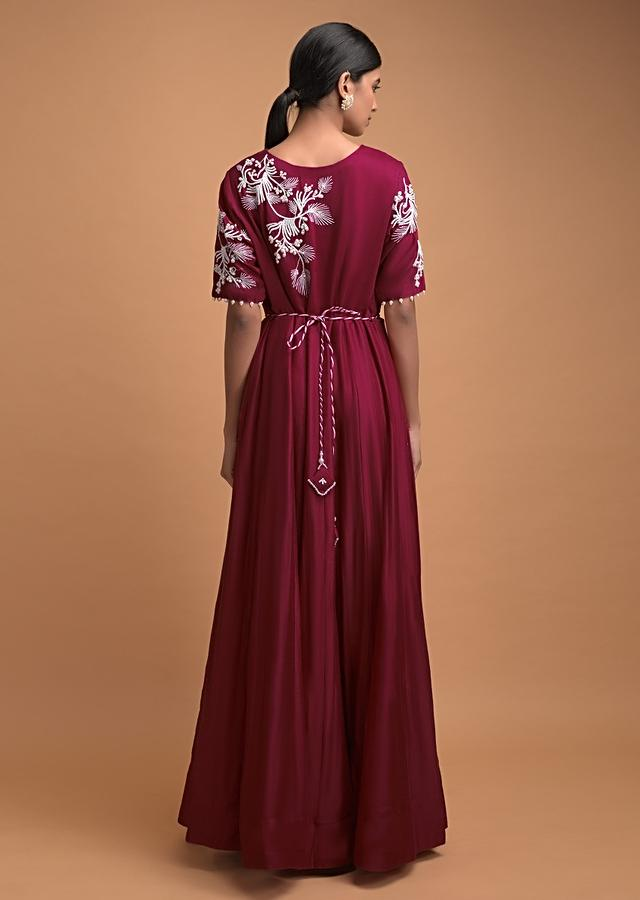 Brick Red Anarkali Suit In Cotton With Cut Dana And Pearls Embroidered Leaf And Floral Pattern Online - Kalki Fashion